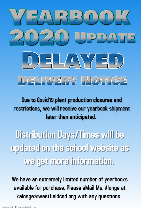 Yearbook 2020 Delayed Delivery Notice